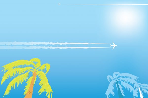 Vacation background with airplanes in the blue sky and palm trees