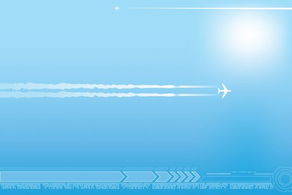 Vacation background with airplane in the blue sky. Free image