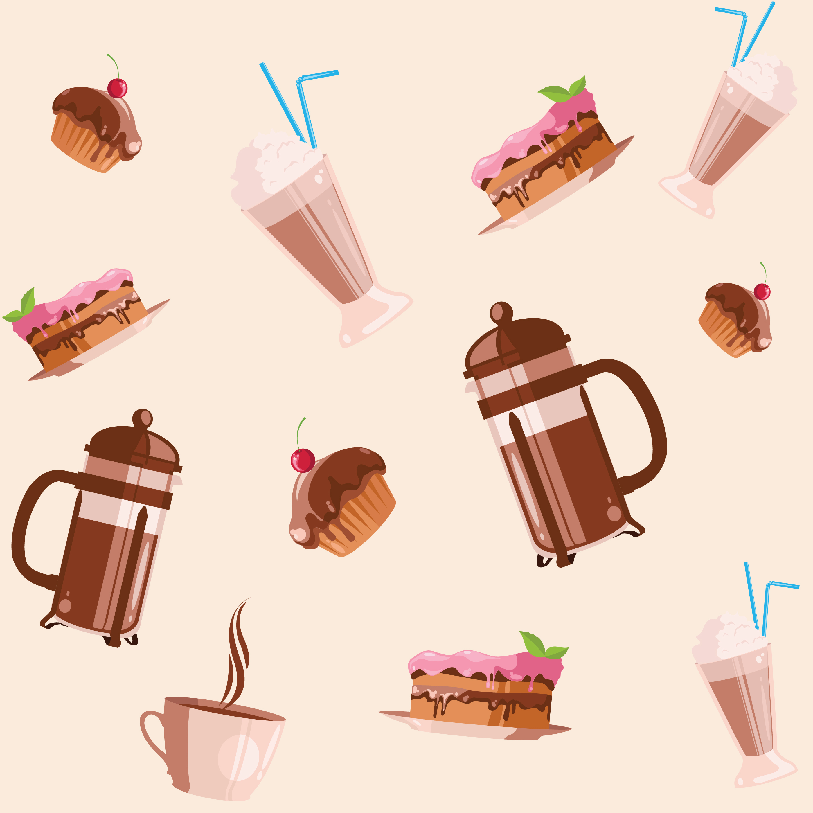 Seamless coffee and cakes background
