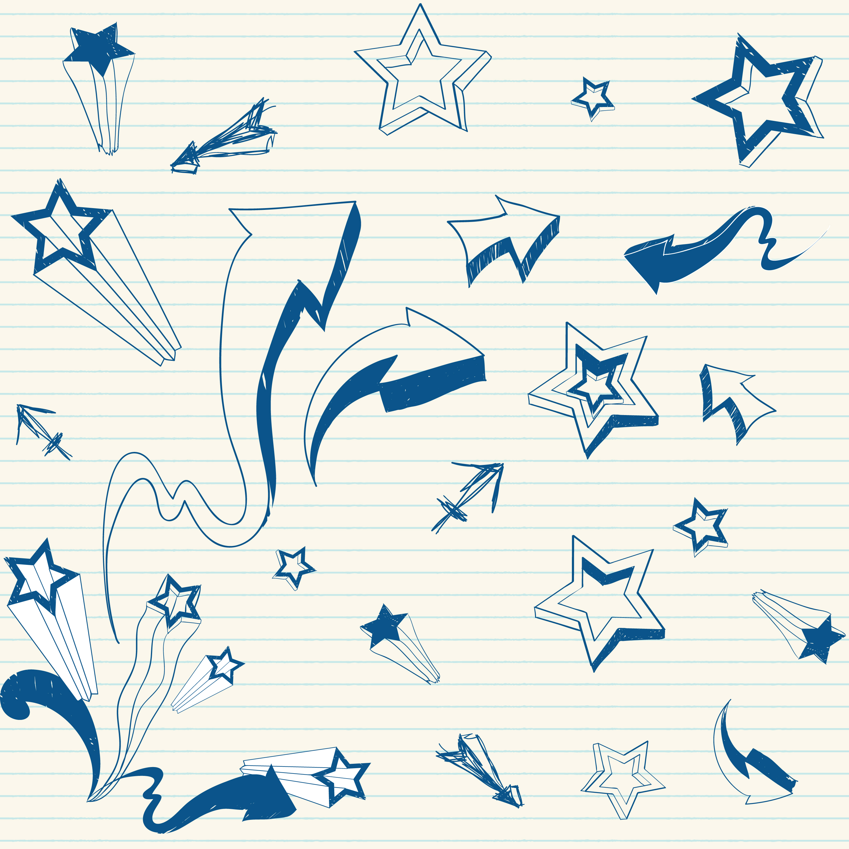hand-drawn doodles of stars and arrows on notepaper