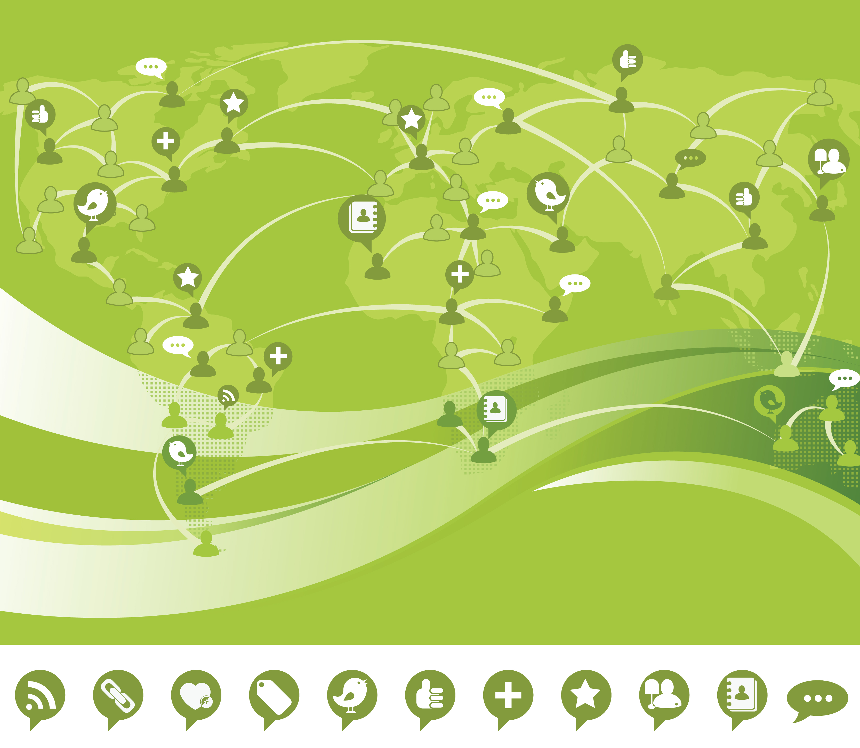 Green social networking background with world map