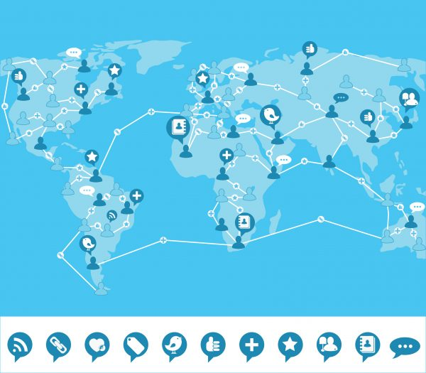 Blue social networking background with world map